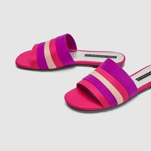 ZARA NWT COLOURED FLAT SANDALS US SZ 5 EU 35